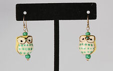 Greenwood Designs Ceramic Owl Yellow Green Accent gf Gold Hook Drop Earrings
