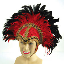 FEATHER #MARDI GRASS RED HELMET WITH BRAID DETAIL + PLUME LAS VEGAS FANCY DRESS