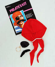 Pirata Fancy Dress Costume Kit Bandana Bigote Ojo parche pendiente Jack Sparrow