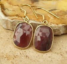 Red Sapphire 925 Silver 24k Gold vermeil Drop Earrings Indian Jewellery