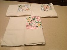 Vintage Embroidered Tea Dish Towels Veggies Vegetables Garden Flowers Nice