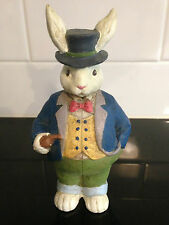 OLD WORLD RABBIT WITH JACKET, VEST, TOP HAT & PIPE FIGURINE