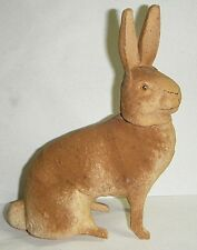 "GREAT ANTIQUE 7""PAPER MACHE&WOOD SITTING BUNNY RABBIT CANDY CONTAINER GERMANY"