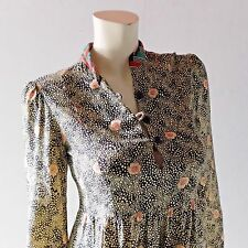1970s Nicole Miller Peasant Calico Floral Rayon Challis Dress sz 2 4 6 PJ Walsh