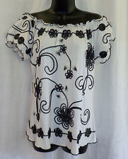 Lauren Michelle Peasant Or Not Knit Top Size L NWT White Embroider Floral Blend
