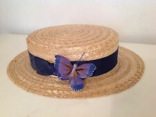 Ladies Vintage Olney Straw Boater Hat with Blue Band ~ Size 56 cm