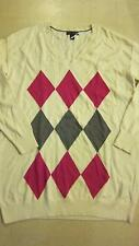 Tommy Hilfiger Womens Argyle V-Neck Pullover Sweater White Pink Sz M- NWT $69.50