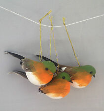 Set of Three Hanging Robin Birds Christmas Tree Decoration