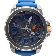 Hugo Boss Orange Mens Blue Rubber Strap Grey Pattern Dial 1513355 Watch