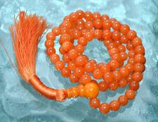 Orange Jade Handmade Mala Beads Necklace - Blessed & Energized Karma Nirvana Med