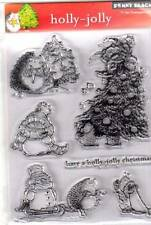 New Penny Black RUBBER STAMP clear  HOLLY JOLLY CHRISTMAS  set free usa ship