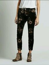New $98 Free People Butterfly Floral Velvet Skinny Pants Size 27