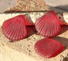 2 pcs~Sea Glass LARGE Clam Shell Pendant Beads~Cherry Red ( 29x27mm)~ 2 pcs.