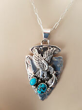NEW! GENUINE NAVAJO NATIVE AMERICAN SILVER & TURQUOISE ARROWHEAD EAGLE PENDANT