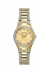 Bulova Women's 98L199 Gold Dial Crystal Encrusted Two-Tone Watch