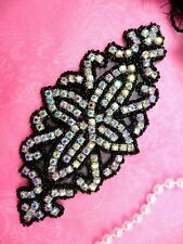DH8 Rhinestone Applique Black Beaded Aurora Borealis Iridescent Bridal Patch 6""