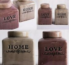 2 x Rustic Home & Love 18cm Ceramic Canister Set Country Storage Jars W/ Lid New