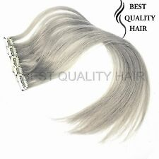 """4 PCS 20"""" Granny Gray CLIP IN Human Hair Extensions Synthetic Straight Clip Hair"""