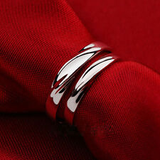 Torsional Couples To Wave Ring Silver Plated Ring Simple Adjustable Size