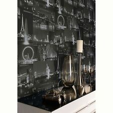 CITY BY NIGHT WALLPAPER BLACK (97670) HOLDEN DECOR NEW YORK LONDON ROOM FREE P+P