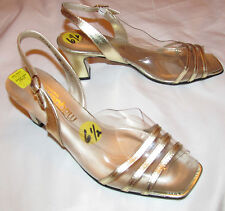 Magdesians clear plastic and gold leather trim slingback pin up shoes 6.5 M Nos