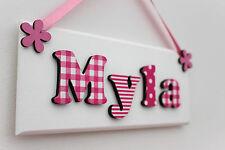 Childrens girls wooden bedroom door sign plaque Pink White Christening New Baby