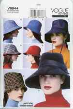 "V8844 Vogue OOP Sewing Pattern 4 Lined Hats Size XSM-LG 20.5-23.5"" Patron"