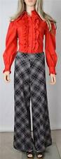 VTG 70s SiLveR Lurex DiScO MoD HiPPiE PLaiD BiG HuGe BeLL BoTToM PaNts CoStUmE