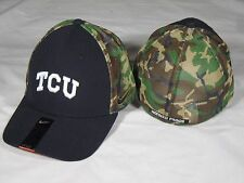 New Nike Swoosh Flex Fit TCU Horned Frogs Fitted Camo Hat Mesh One size Black