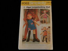 Doll Pattern Pippi Longstocking Simplicity 6063 Vtg Rag Stuffed Cloth Uncut  P21