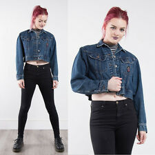 VINTAGE LEE WOMENS DENIM JACKET CROPPED BUTTON FASTEN JEANS CASUAL CROP 10 12