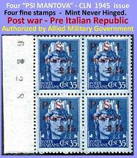 4 stamps PSI-MANTOVA 1945 CLN plate-block numbers in excellent condition (#911)