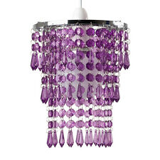 Modern Silver & Purple Acrylic Crystal Ceiling Light Shade Chandelier Lampshade
