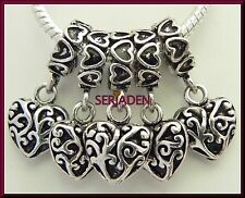 5 Dangling Heart Charm Very Detailed for European Style Bracelet & Necklace S092