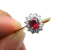 Estate Vintage Antique Art Deco Red Ruby Diamond 14k Gold Halo Engagement Ring