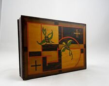 ORIGINAL AGFA ART DECO WOODEN GEOMETRIC CASE ANTIQUE BOX JEWELERY WATCHES