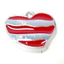 5 Pcs 18x16mm Heart Zinc Alloy Enamel Charm Pendants - A8101