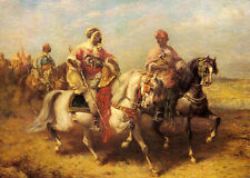 "Art Oil painting horsemen Arab Chieftain and his Entourage in landscape 24""x36"""