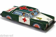 "Vintage Mercedes  Ambulance  Red Cross Friction Toy Metal Car Tin 5"" Japan 60's"