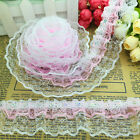New 5 Yards 4-layer Pink Pleated Trim Mesh Lace Sewing Sequin Gathered C#12