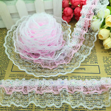 New 5 Yards 3-layer 45mm Pink Organza Lace Gathered Pleated Sequined Trim #D-001