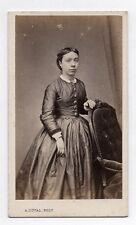 PHOTO CDV Carte de visite A. Duval Caen Robe Femme Coiffure Vers 1870 Fauteuil