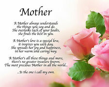 Personalised Mother Poem Birthday Christmas Mothers Day Gift Present
