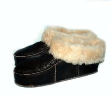NEW! Men's Brown Soft Sheepskin Lambskin Fur Slippers KATZ Leather Warm Size 8