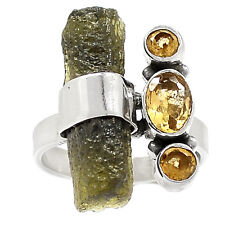 Genuine Czech Moldavite 925 Sterling Silver Ring Jewelry s.7.5 SR209618