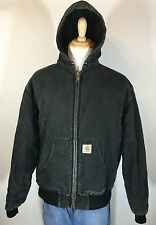 Men's Carhartt Jacket Black Canvas Duck Quilted Lined Hooded Coat LARGE ?