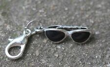3-D Black Sunglasses Sunglass Lobster Claw Clasp Single Clip on Charm Dangle