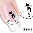 Hot Lovely Women Black Cat Nail Art Water Transfer Slide Decals Sticker