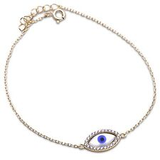 Trendy! Yellow Gold Plated Evil Eye Cubic Zirconia .925 Sterling Silver Bracelet