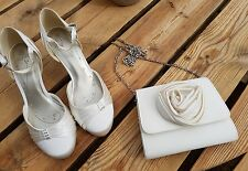 Wedding shoes and bag. Used once. Size 5